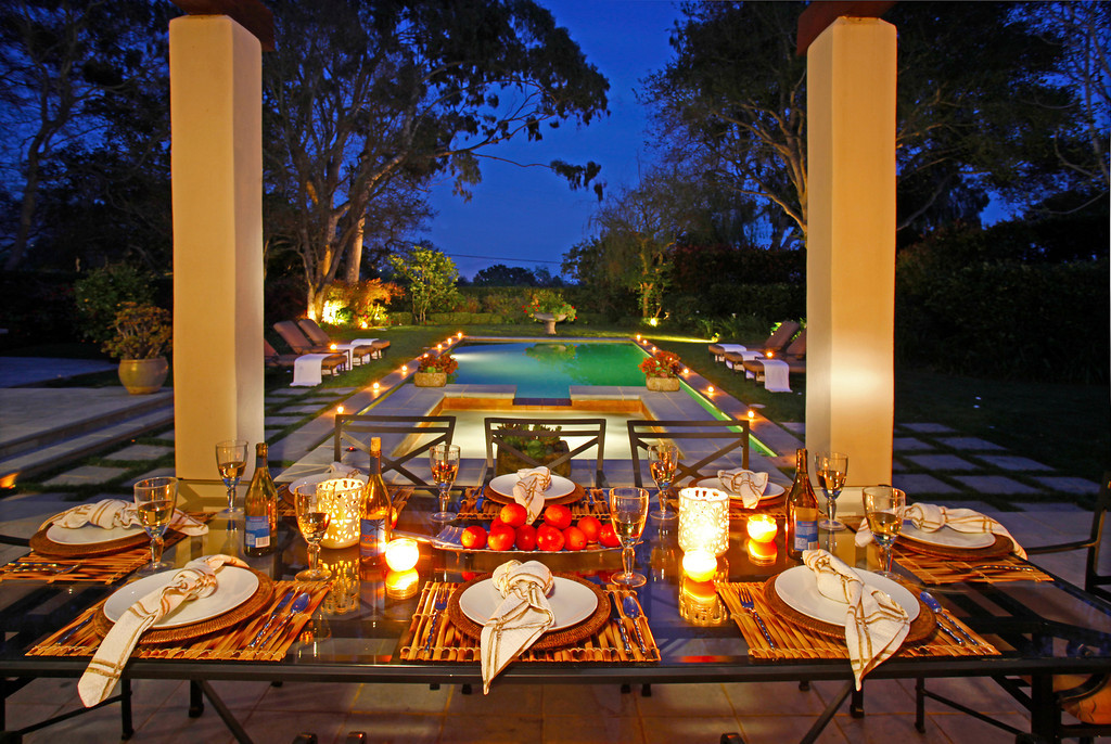This contemporary Montecito property boasts one of the most luxurious outdoor dining areas.