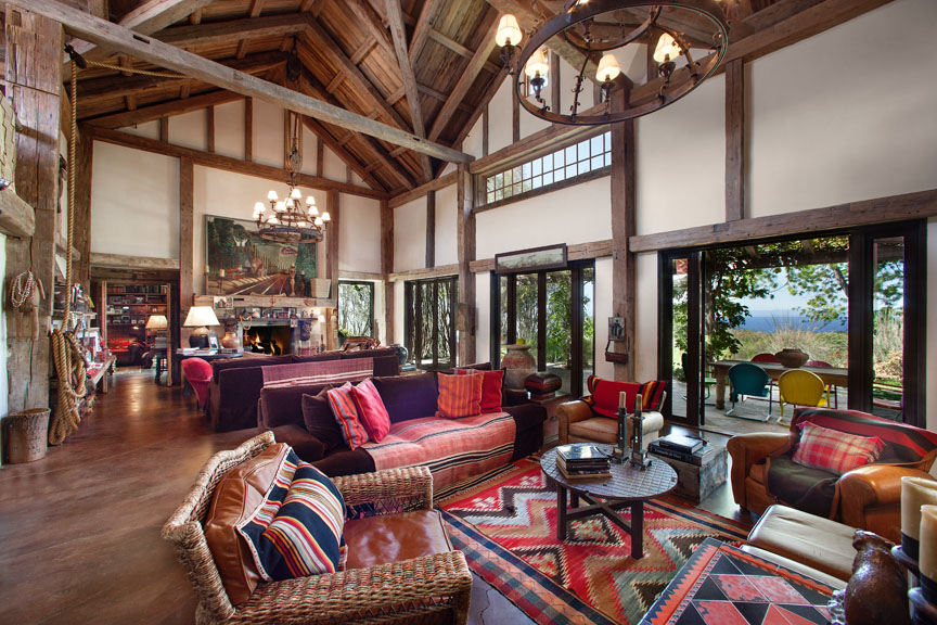A rustic ocean view formal living room in Santa Barbara