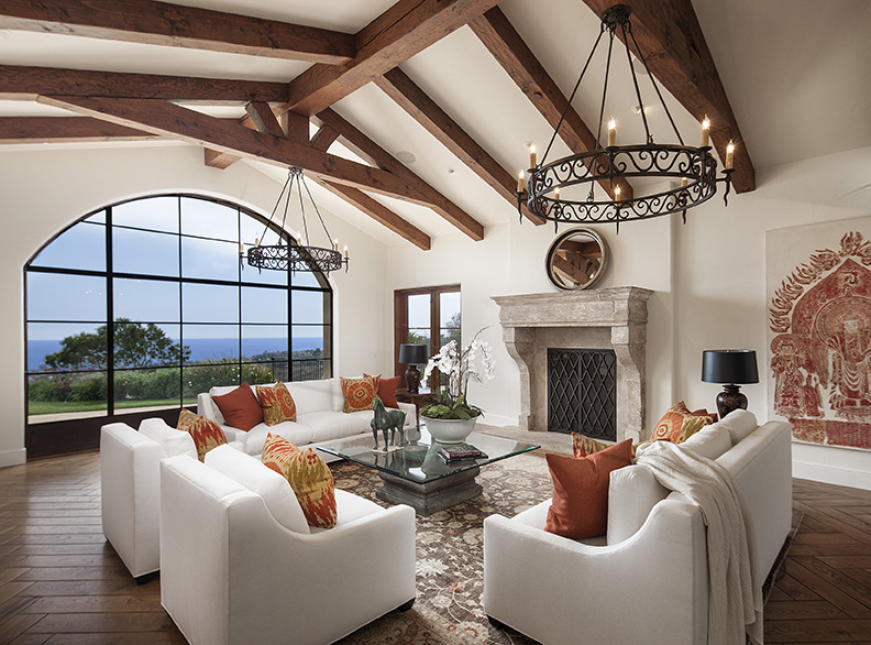 A Montecito ocean view formal living room.
