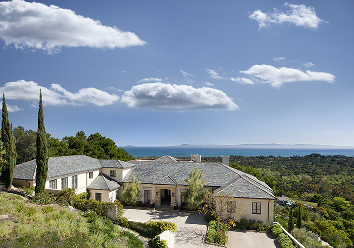 A hill top view provides this Montecito estate a stunning ocean view.