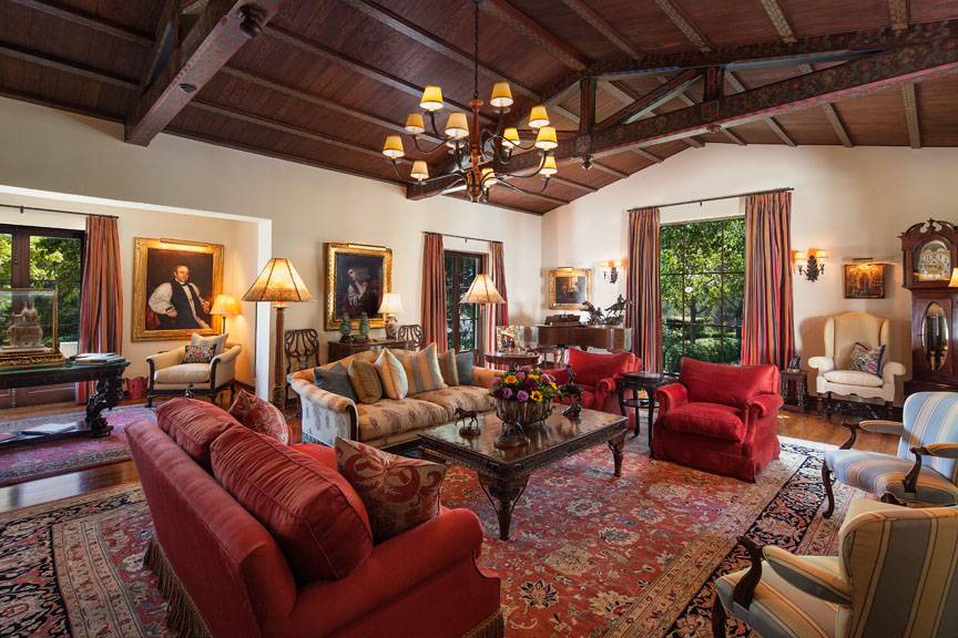 grand formal living room in this Hope Ranch estate.