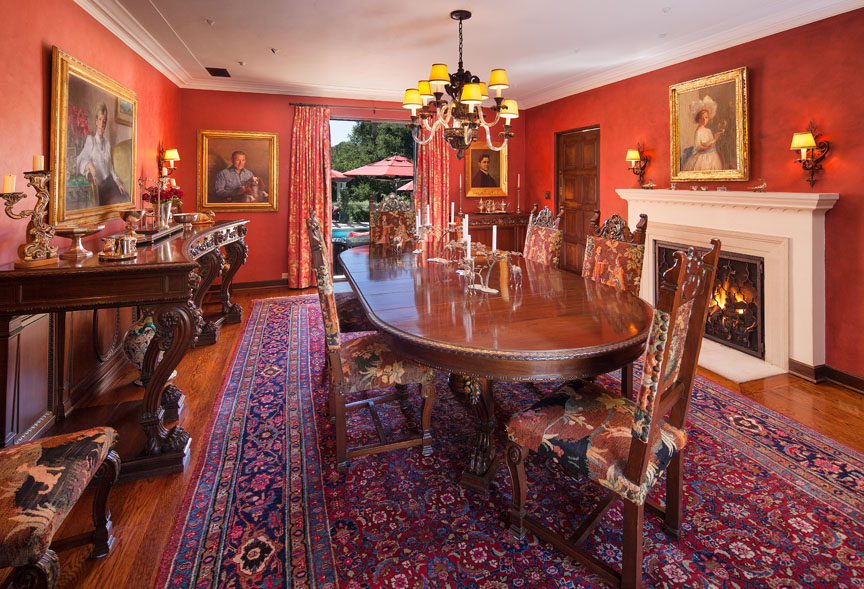 Formal dining room in Santa Barbara california