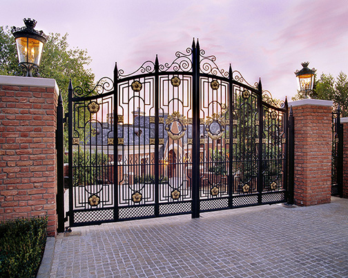 Protective gates provide privacy to this Montecito estate.