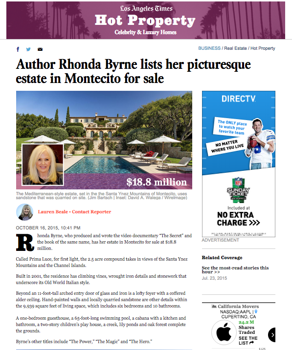 Author Rhonda Byrne lists her picturesque estate in Montecito for sale