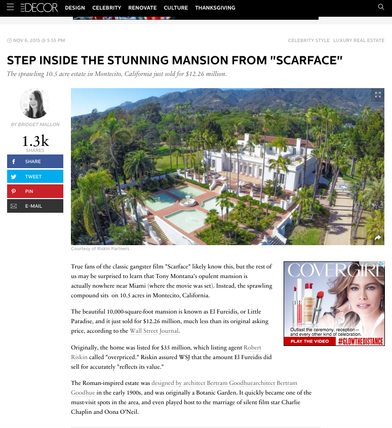 "Step Inside the Stunning Mansion from ""Scarface"" - ElleDecor"