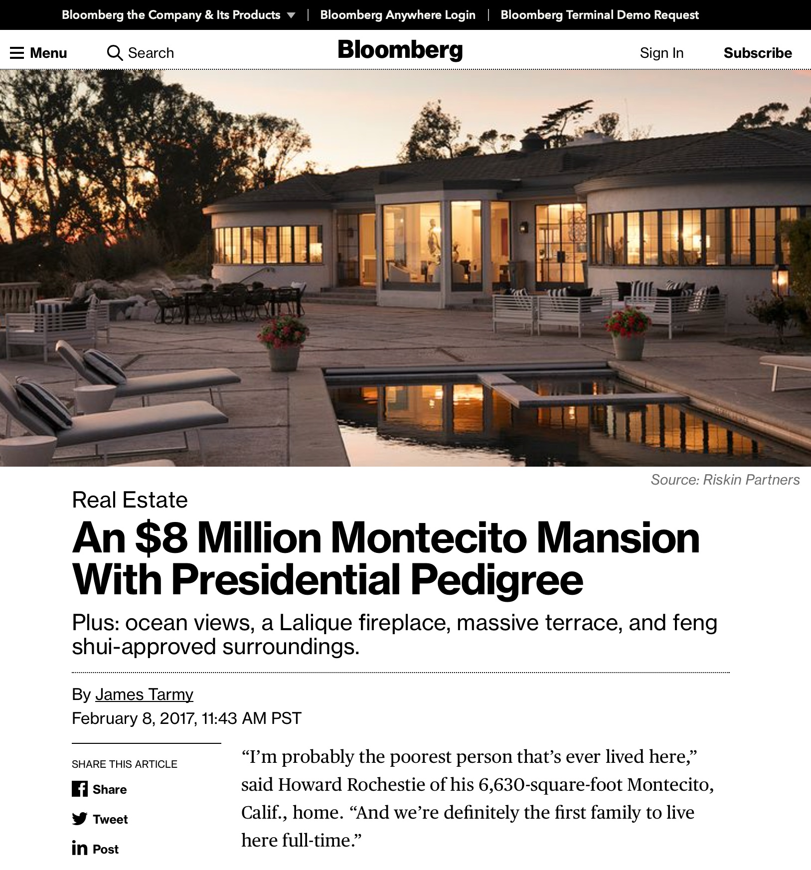 An $8 Million Montecito Mansion With Presidential Pedigree  February 8, 2017 - Bloomberg