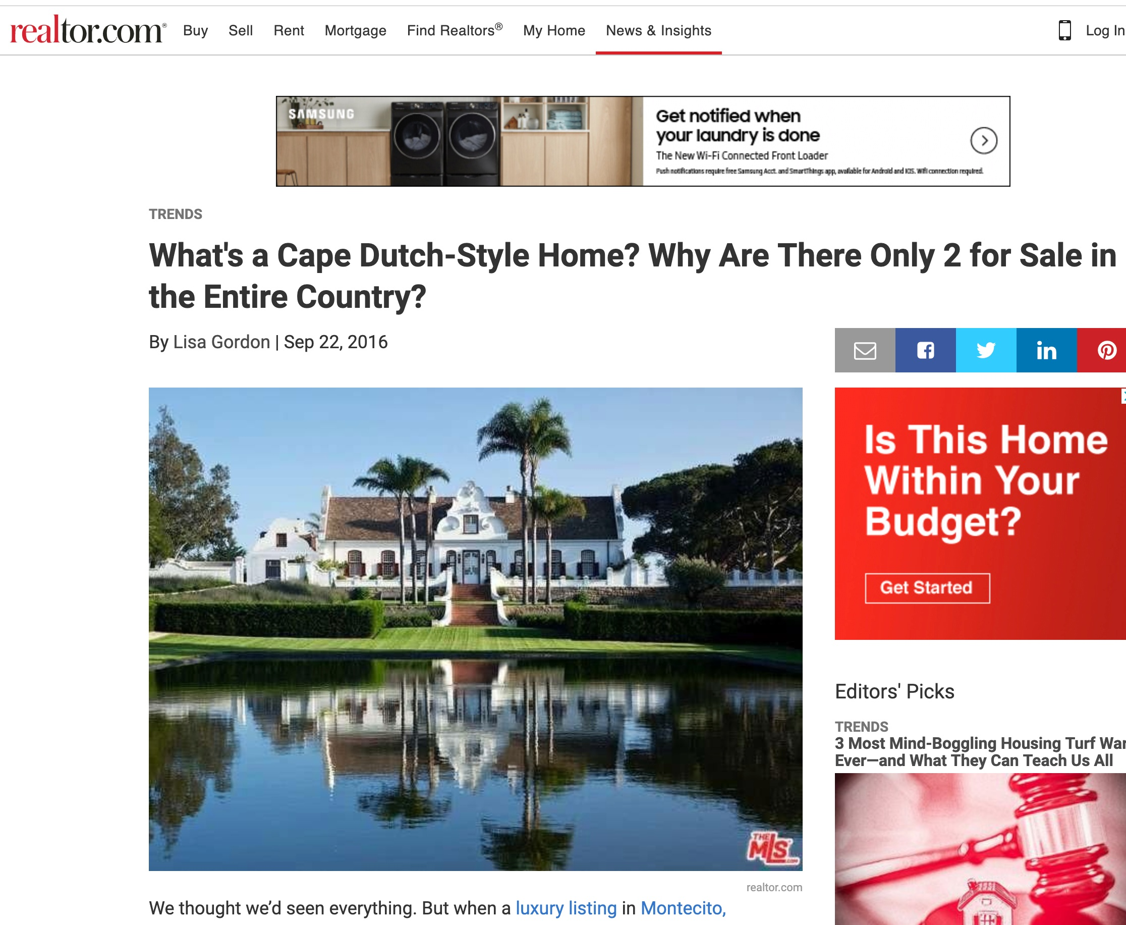 What's a Cape Dutch-Style Home? Why Are There Only 2 for Sale in the Entire Country?  September 22, 2016 - Realtor.com
