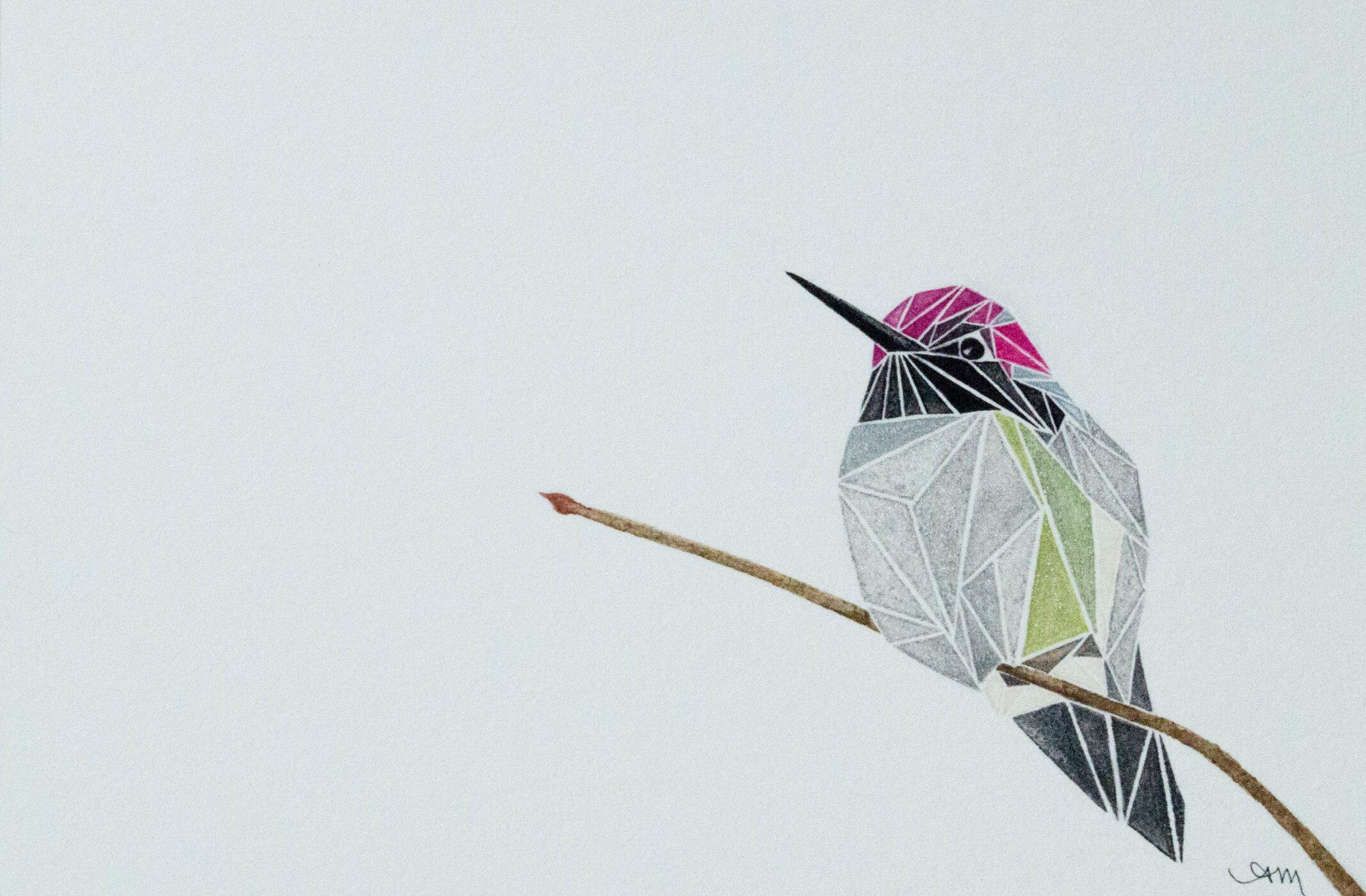 geometric anna's hummingbird, watercolor on paper - SOLD -