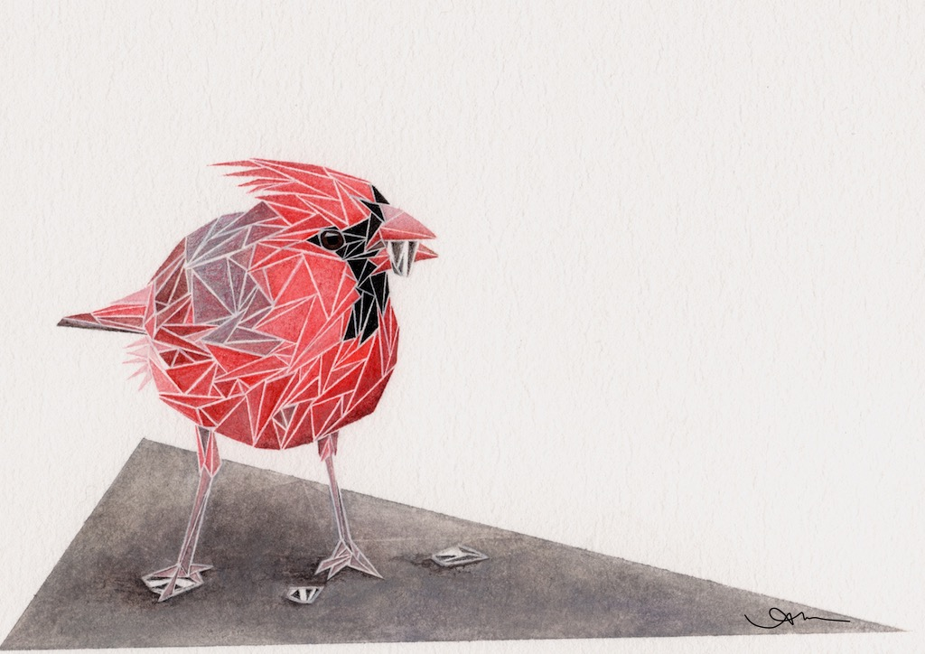 geometric northern cardinal, watercolor on paper - AVAILABLE-