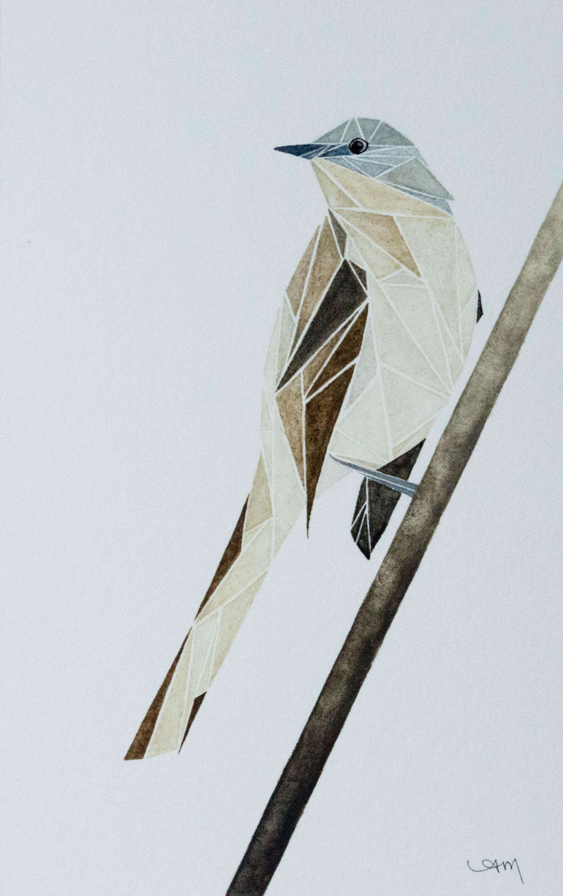 geometric northern mockingbird, watercolor on paper* 2014 - SOLD-