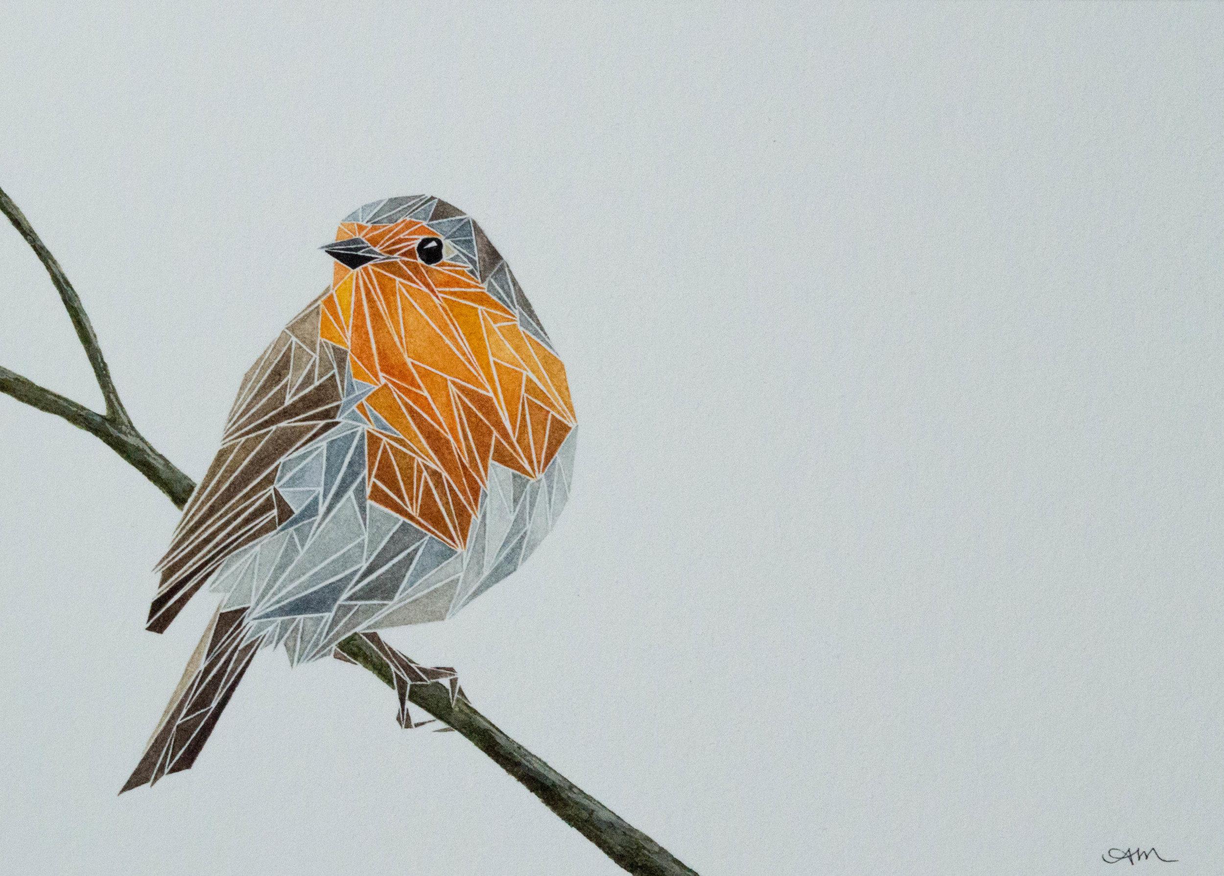geometric european robin, watercolor on paper* 2014 - SOLD-