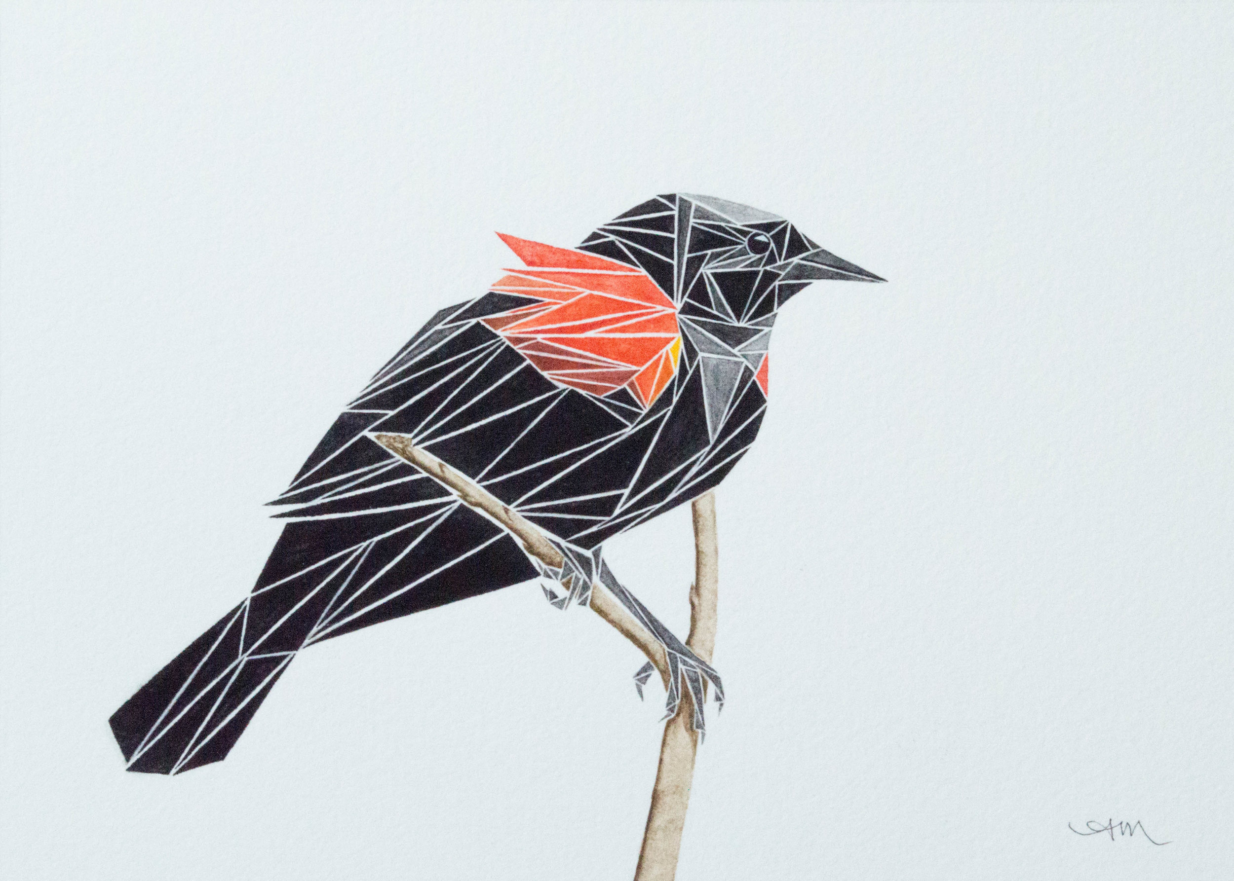 geometric red-winged blackbird, watercolor on paper* 2014 - AVAILABLE-