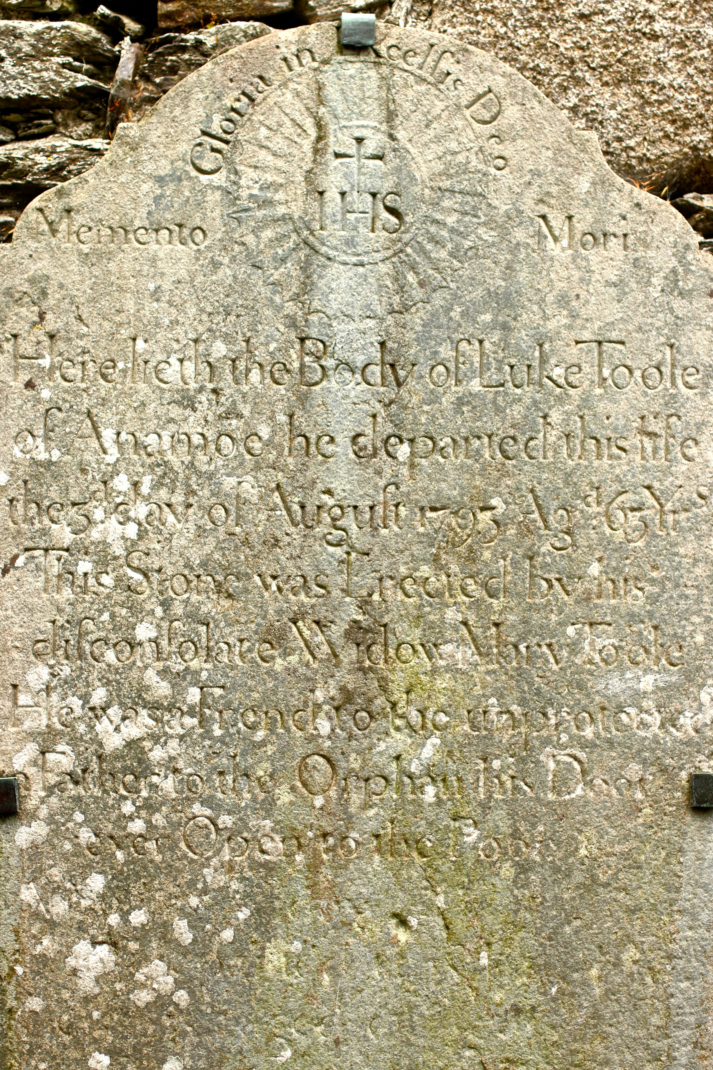 """My favorite tombstone! """"Father to the orphan, his door ever open to the poor""""."""