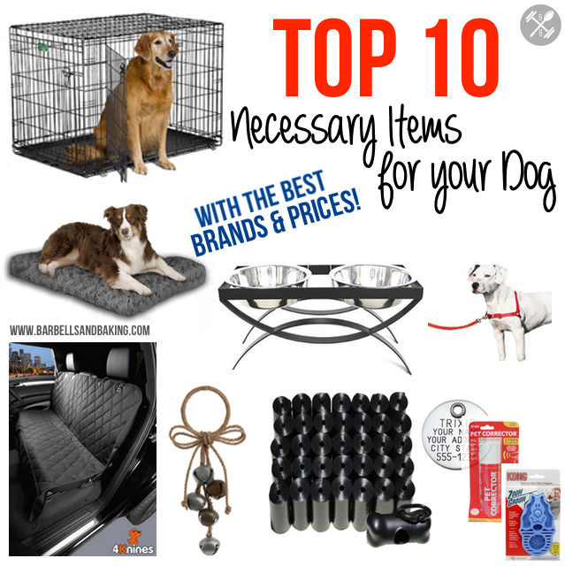 Top 10 Necessary Items for Your Dog - Best Crate, Bed, Bowls and Feeder, Car Seat Cover, Harness, Prong Collar, ID Tags, Waste Bags and Dispenser, Potty Training Door Bell, Pet Corrector, Brush, Toys, and Chews - www.barbellsandbaking.com