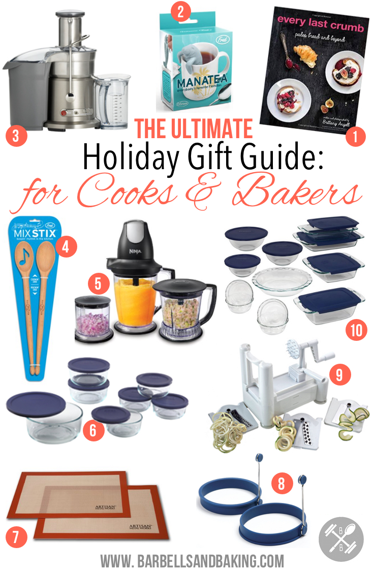 The 2014 Ultimate Gift Guide for Cooks & Bakers! Cookbooks, bakeware, cookware, appliances, and utensils that any cook or baker would love! - www.barbellsandbaking.com