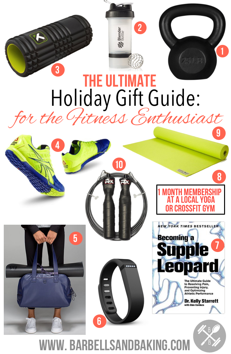 2014 Ultimate Gift Guide for the Fitness Enthusiast! Yoga - Weightlifting - CrossFit - Running - www.barbellsandbaking.com