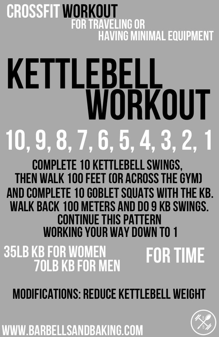 CrossFit Workouts for Traveling or Having Minimal Equipment | Kettlebell Swings, Carry, & Squats | www.barbellsandbaking.com