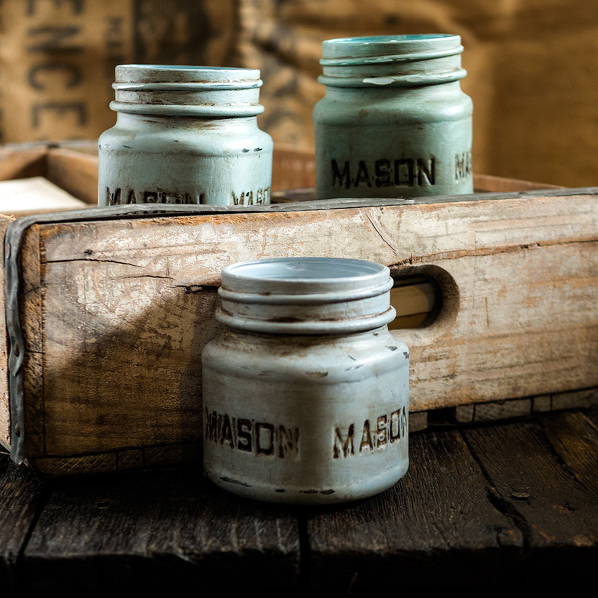 Mason Jars painted with Annie Sloan Chalk Paint