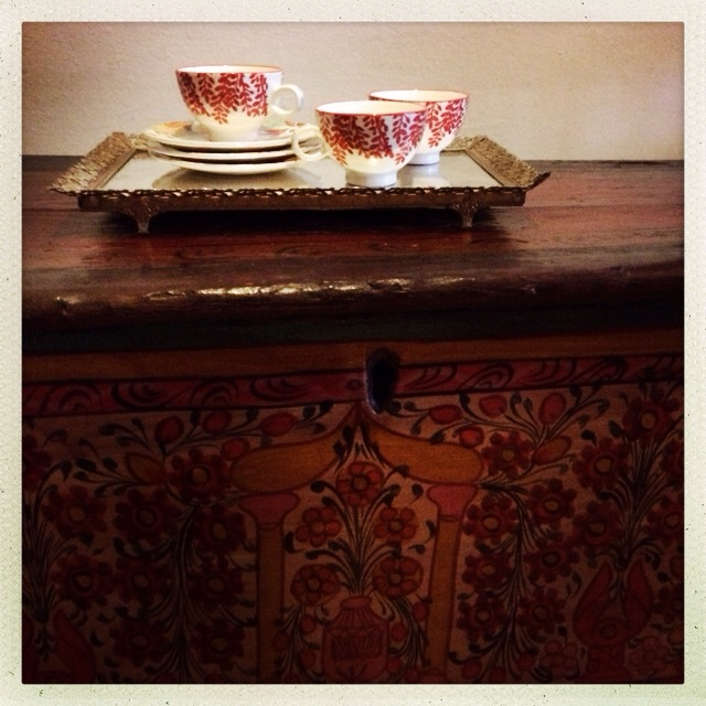 Teacups on Albanian chests