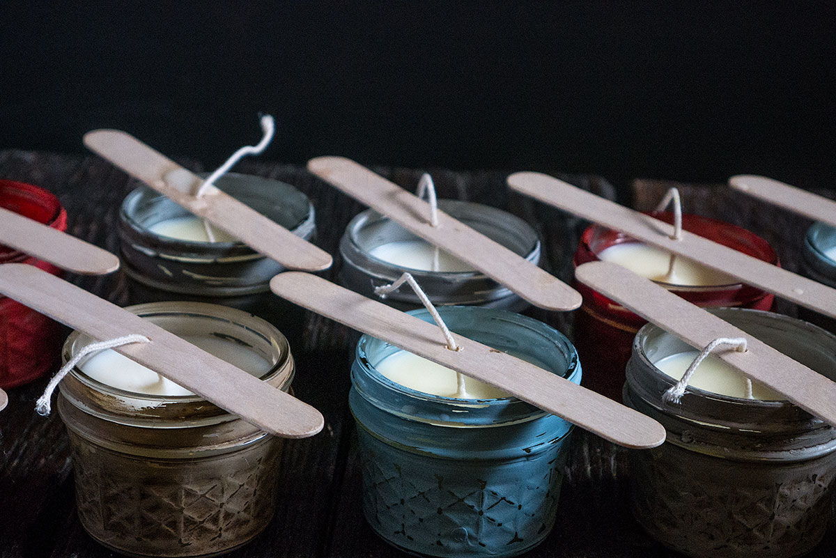 Hand-painted Jelly Jars candles perfect for your wedding decorations