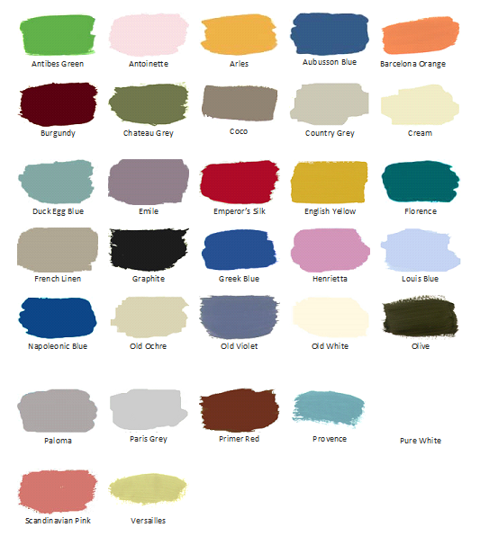 All of the Chalk Paint® by Annie Sloan available colors