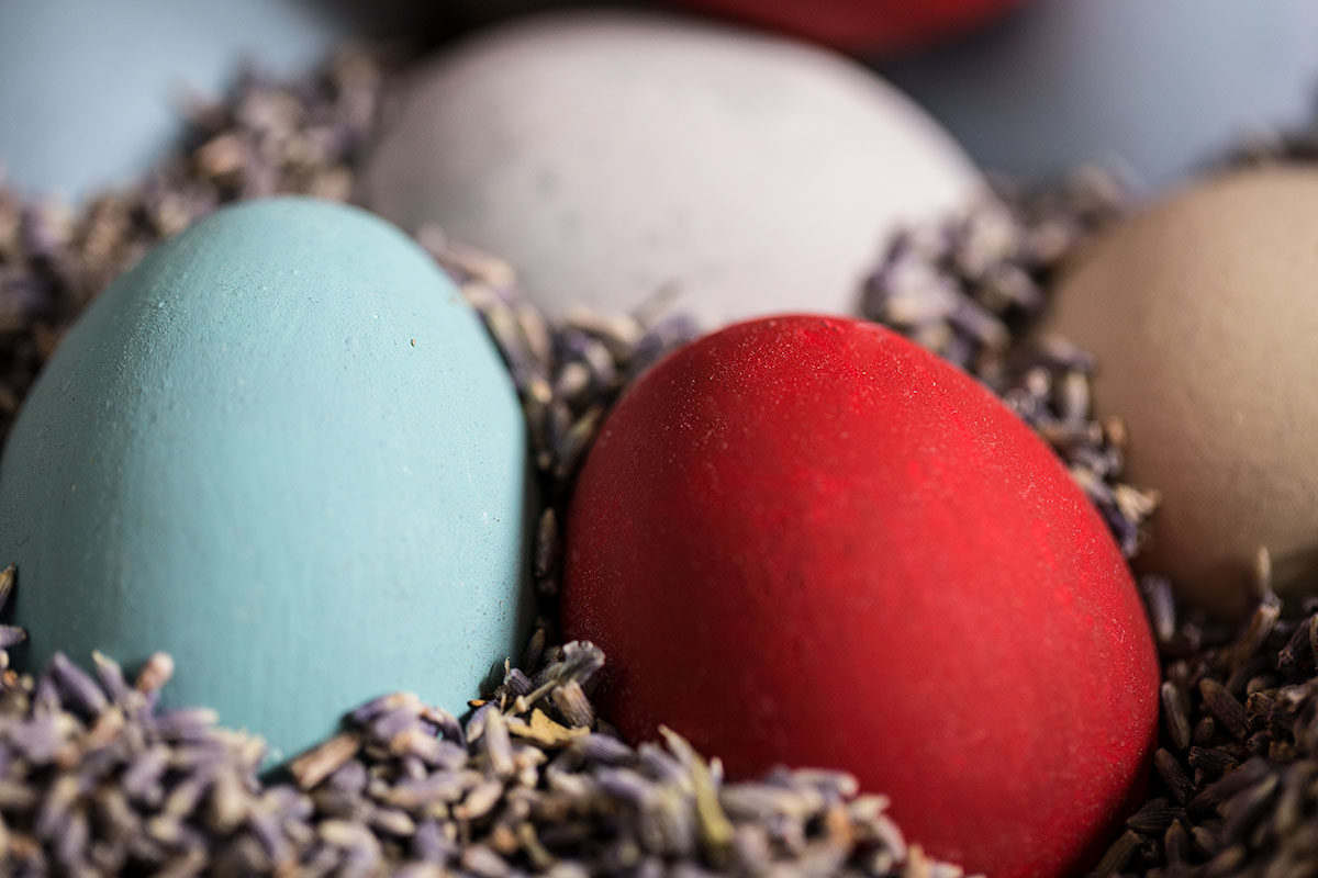 Eggs painted with chalk paint