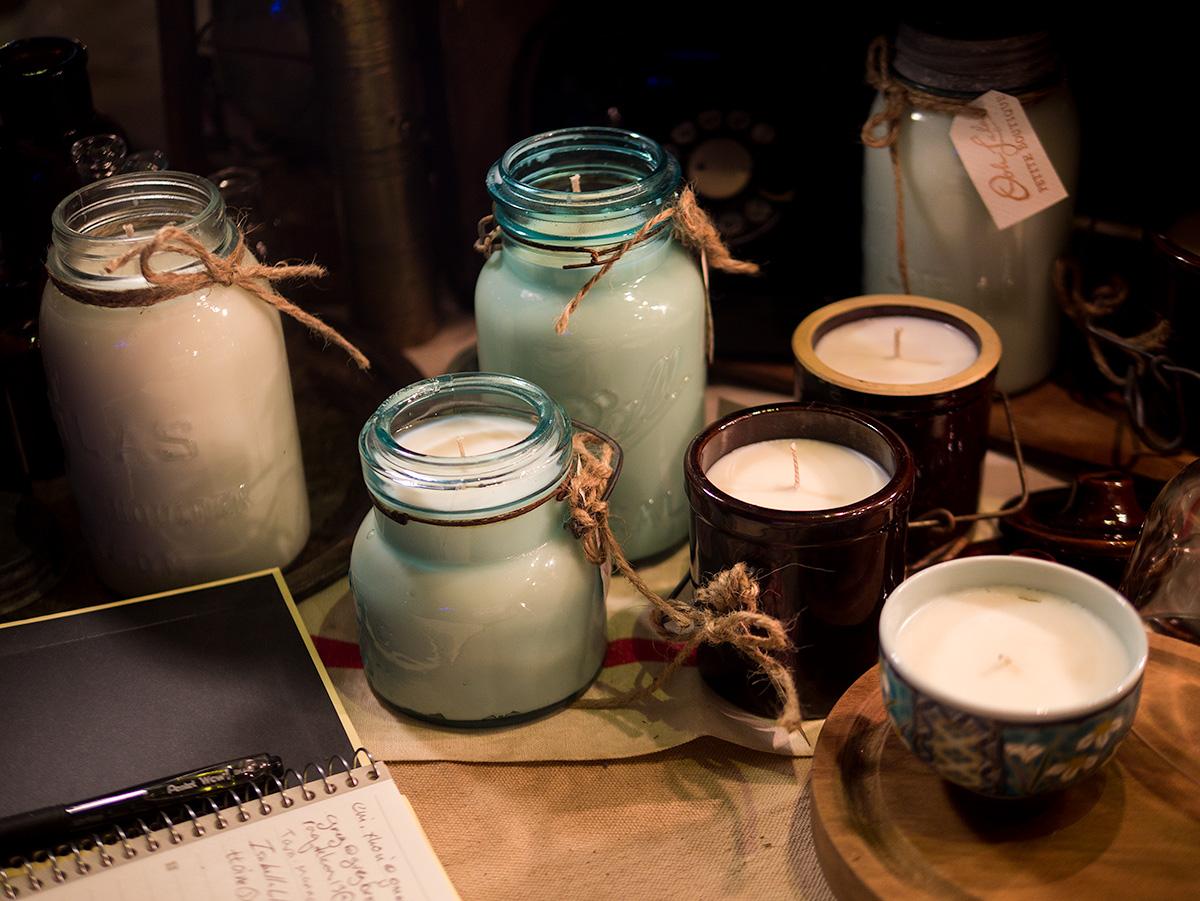 Vintage mason jar candles