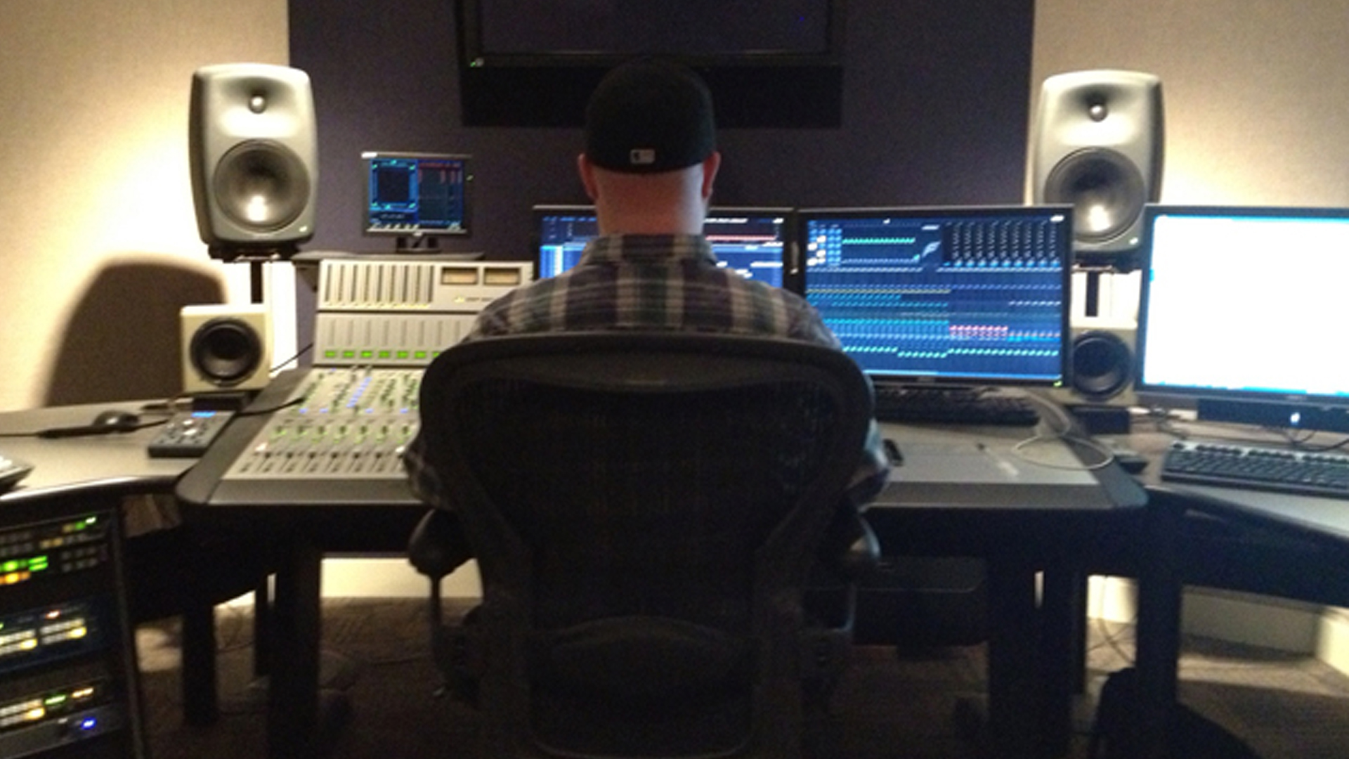 Our audio engineer, John Gardner, in the Fairlight mixing suite