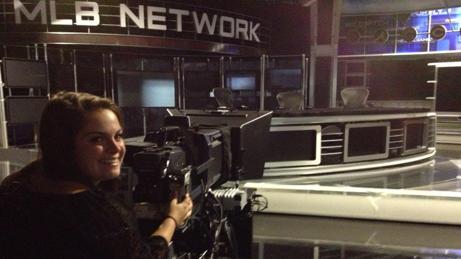 Alexandra behind the camera on the MLB Tonight set
