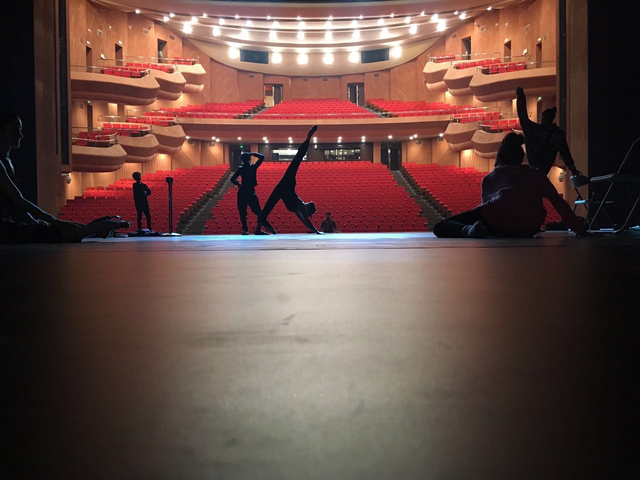 FJK Dancers getting a feel for the stage and warming up before company class.