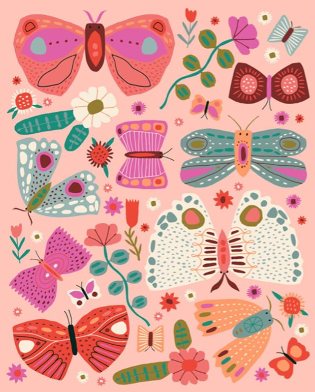 Here are the illustrations used for my new collection with Anthropologie (see my last post). Their design team combined these two images and made a very sweet collection.❤️🦋🍄🌸
