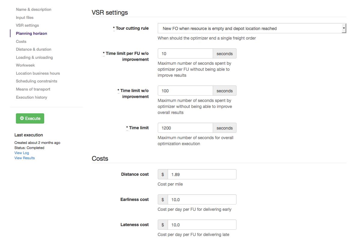 Sample optimization parameters