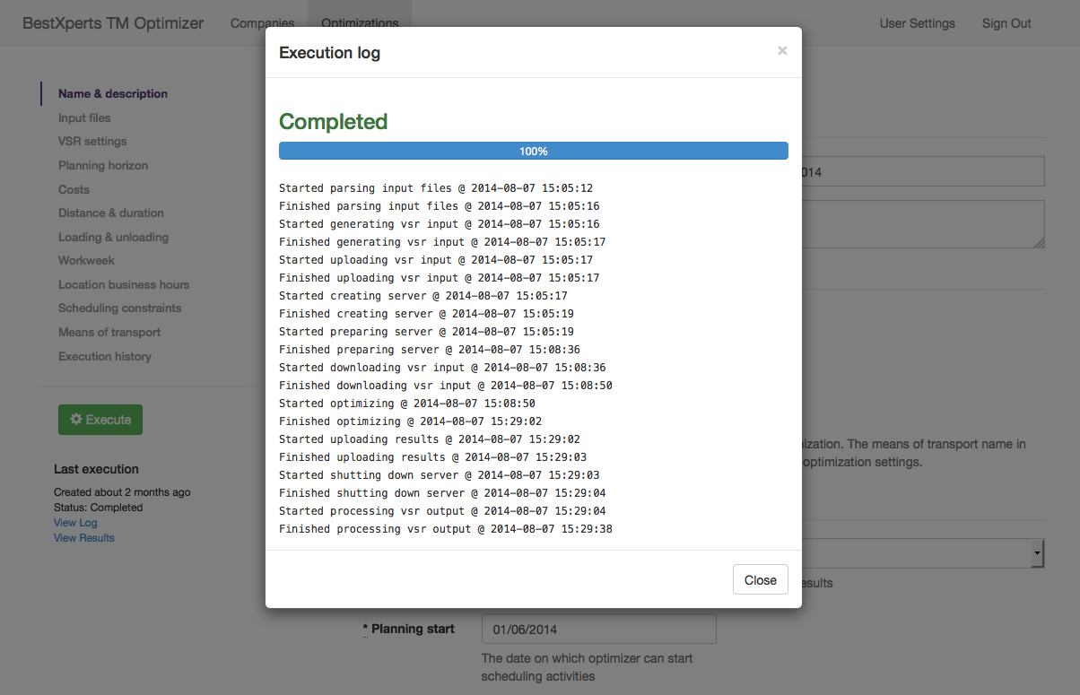 Executing the optimization