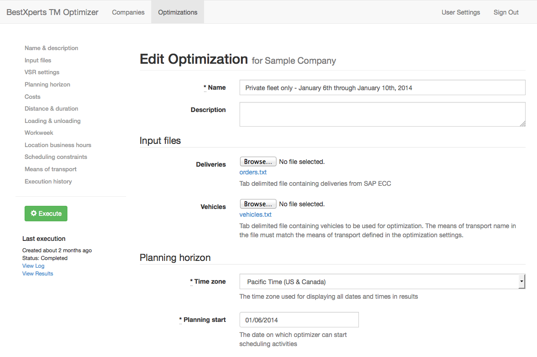 Building a TM optimization - description & input files