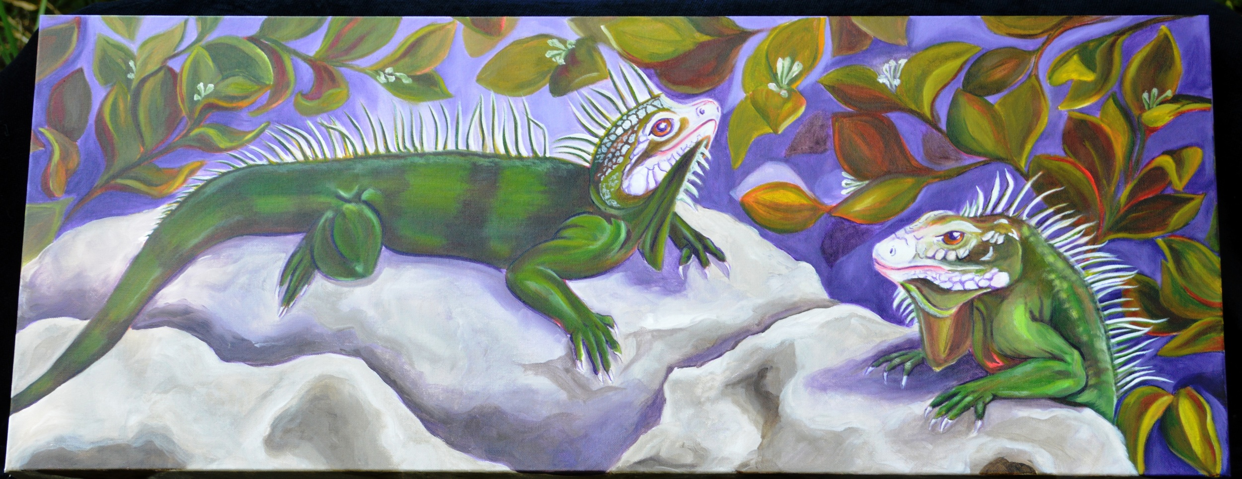 Laird_Lynn_ Just_Hanging_Out_Basking_Acrylic_on_Canvas_16x40_inches.jpg