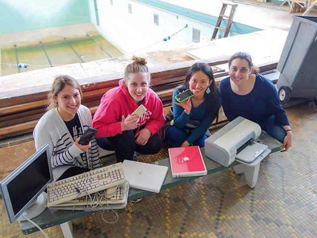 Ashley Purland, Iris MacLean, Stephanie Lusk, and RAF artist Rachel Sayad-Sangsura
