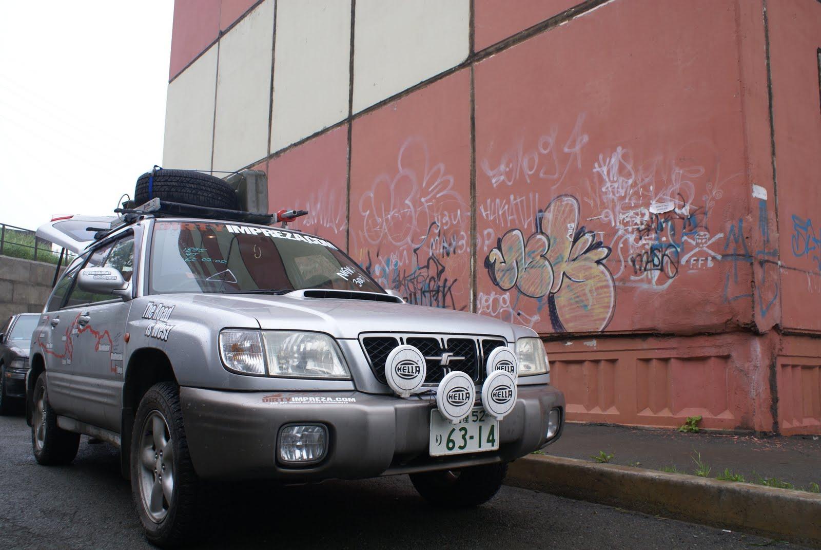 The first car, a 2002 Subaru Forestor, all prepped in Vladivostok, Russia.