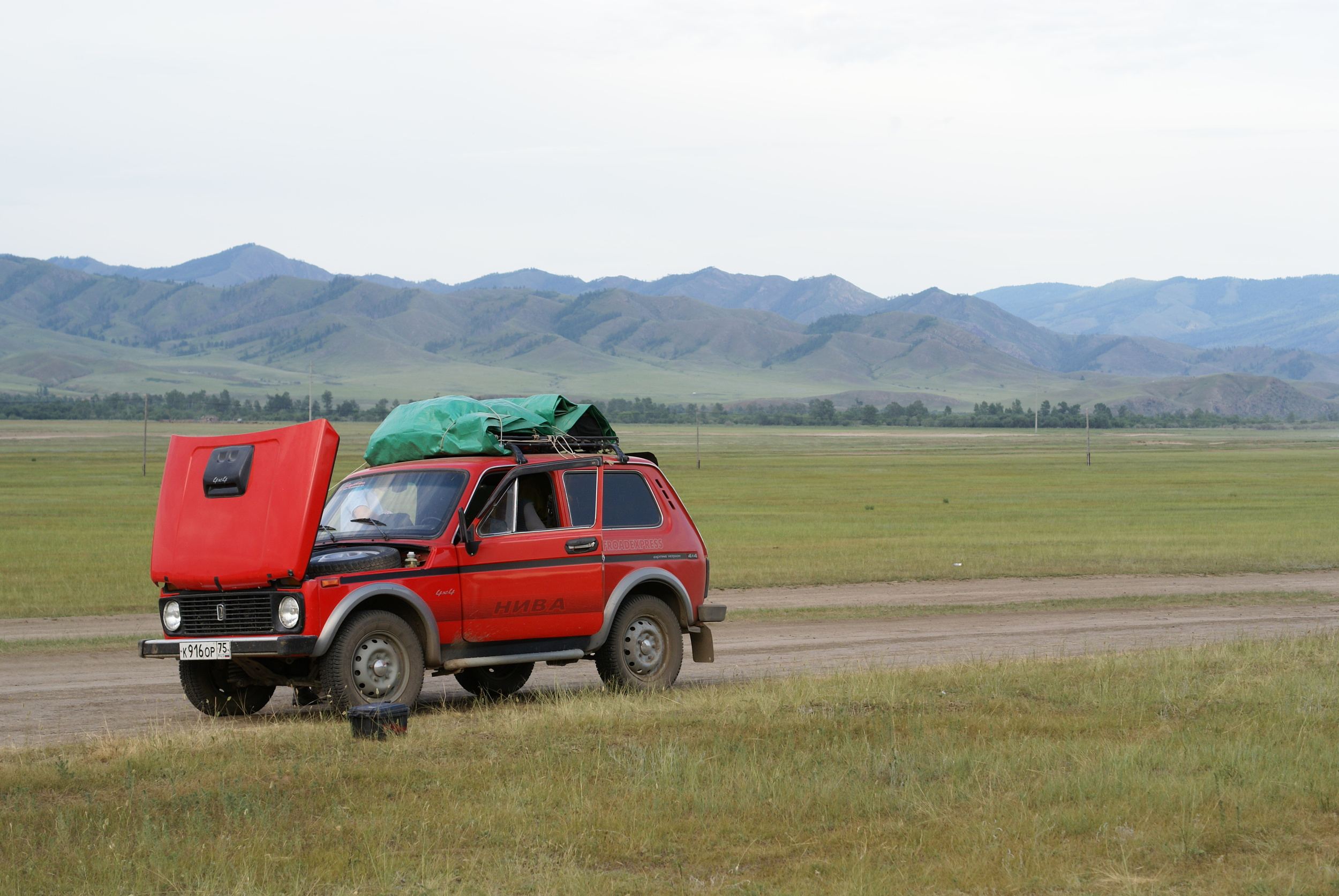 Our second car, a 1996 Lada Niva in Mongolia.