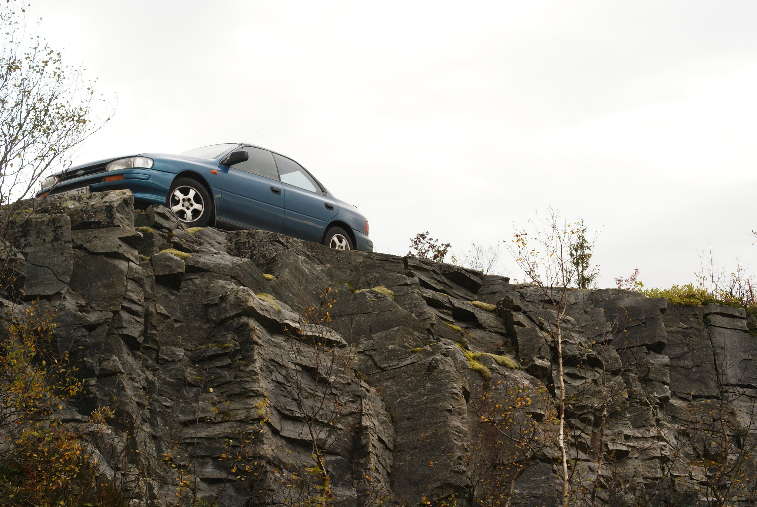 Our third and final car, a 2001 Subaru Impreza in northern Norway.