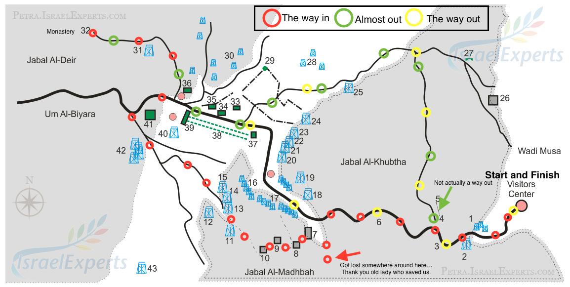 Our route through Petra