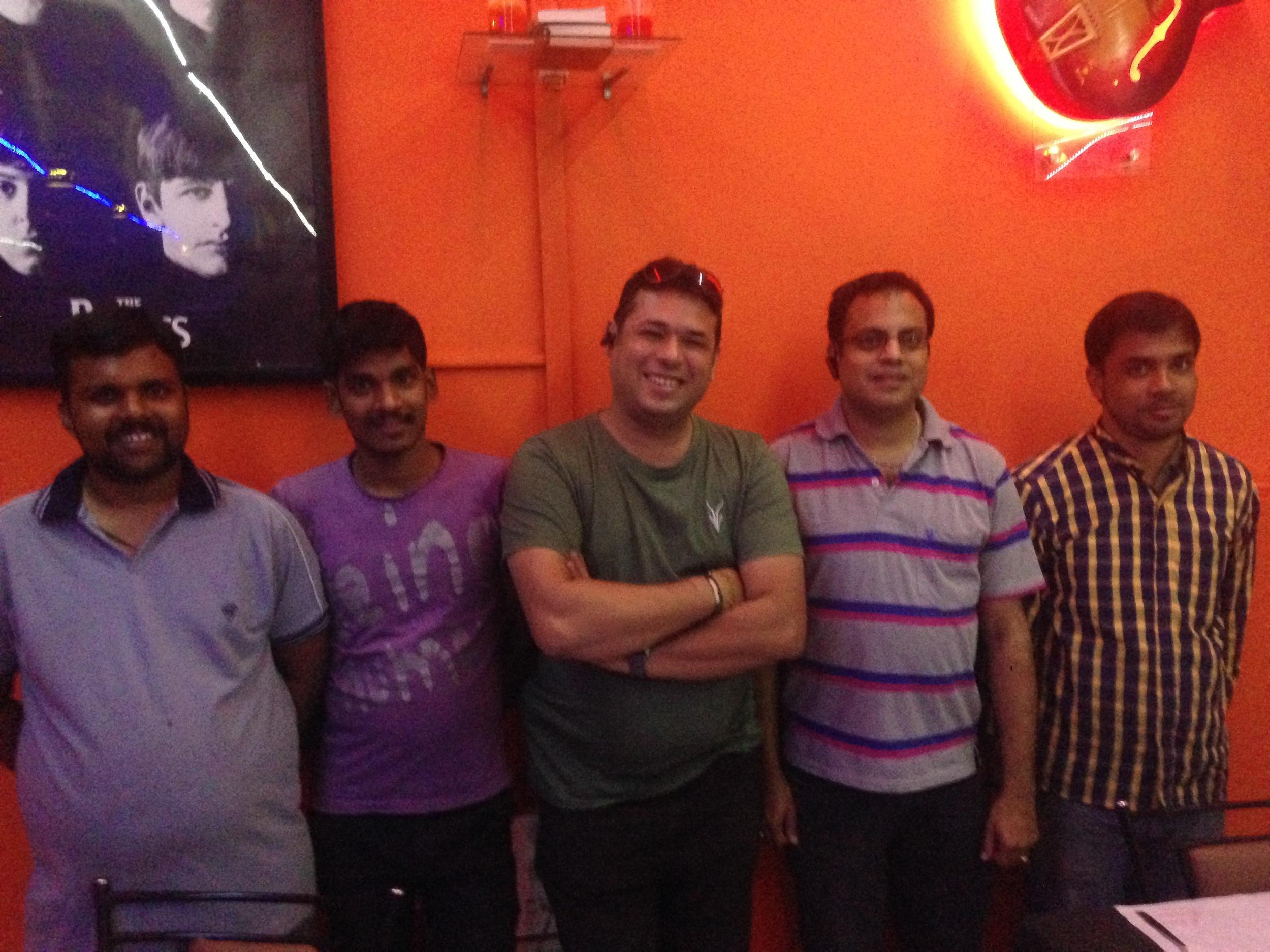 The restaurant crew: Antony, Suresh, Dom, Eric, and Sanjit.