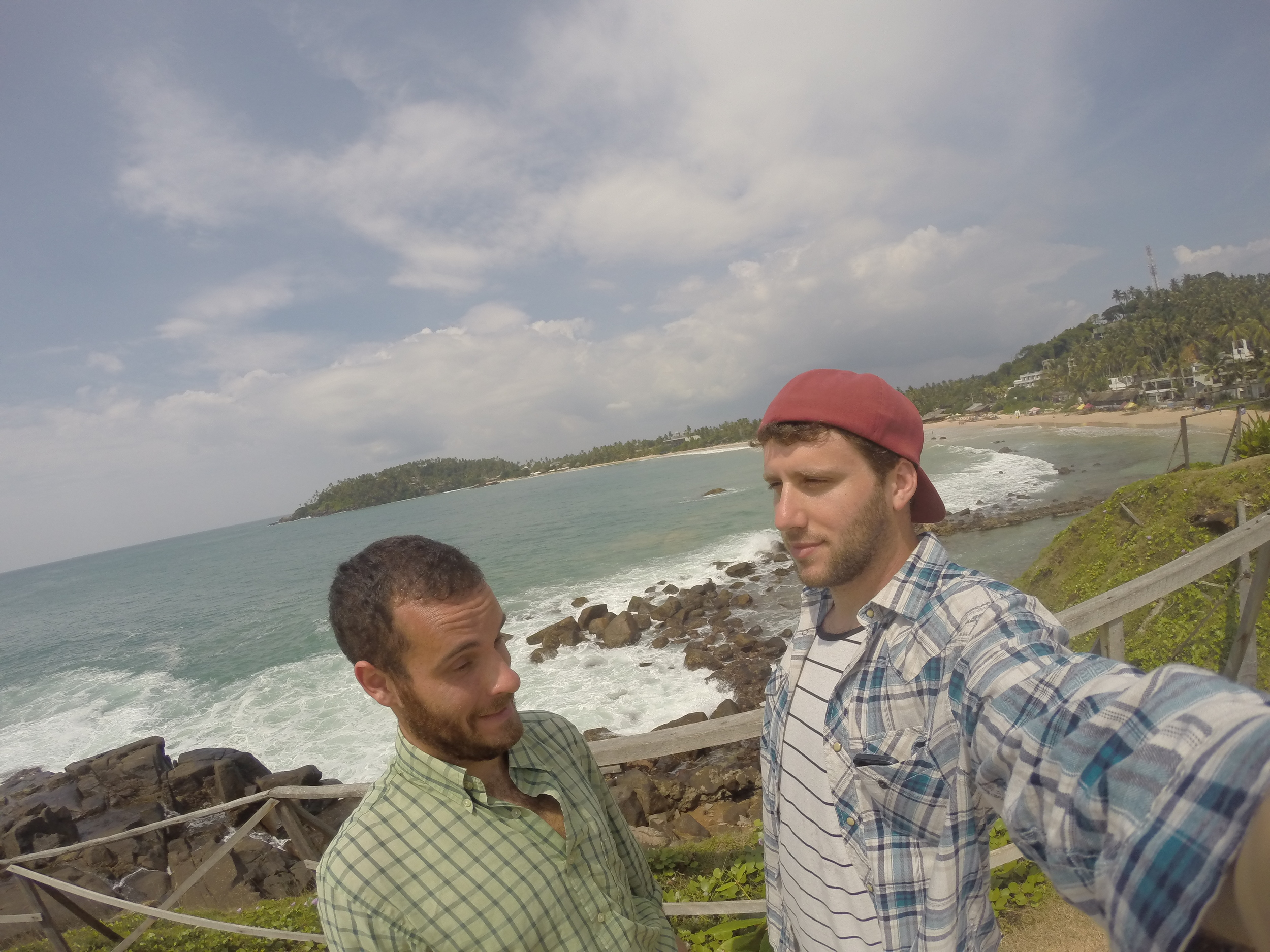 Sam and I perfecting our selfie photo with Mirissa Beach in the background.