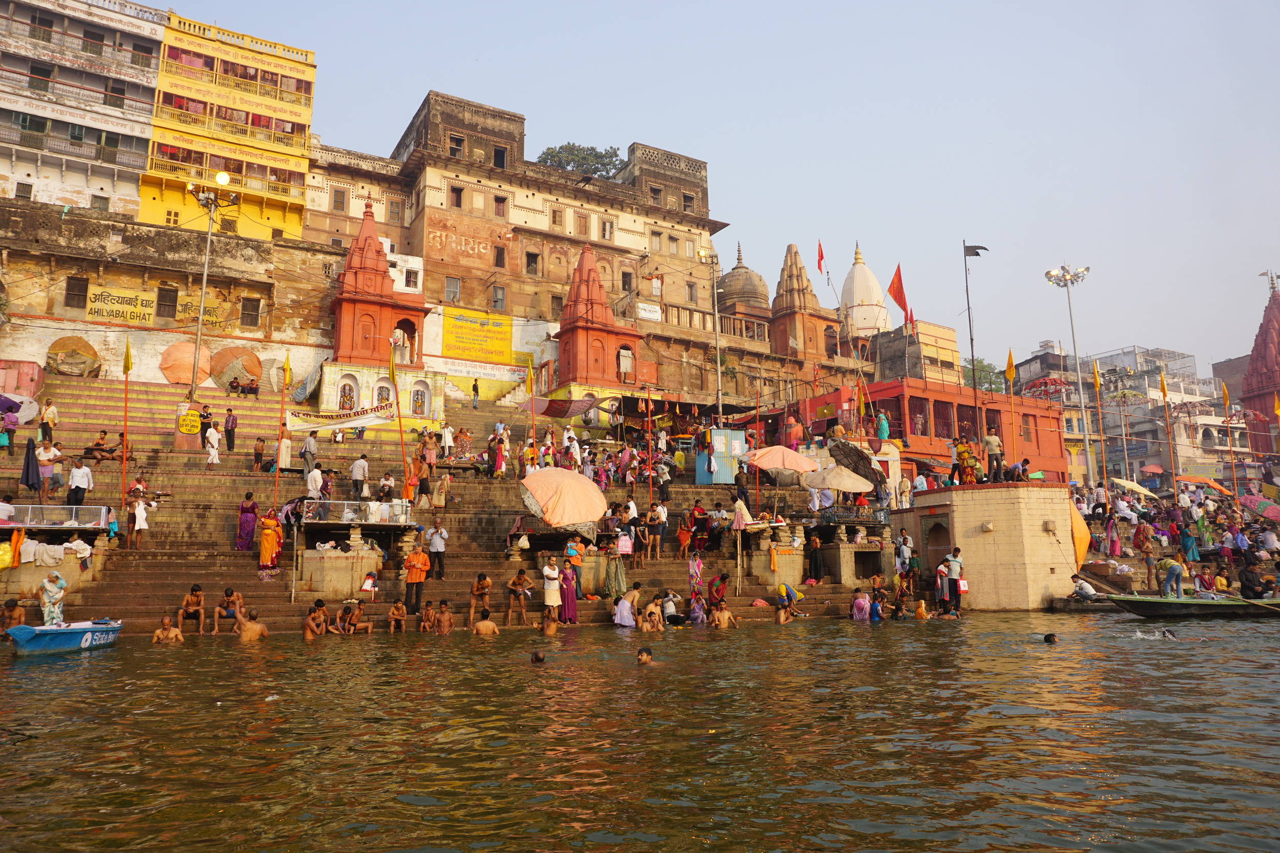 Bathing in the morning along the Ganges.
