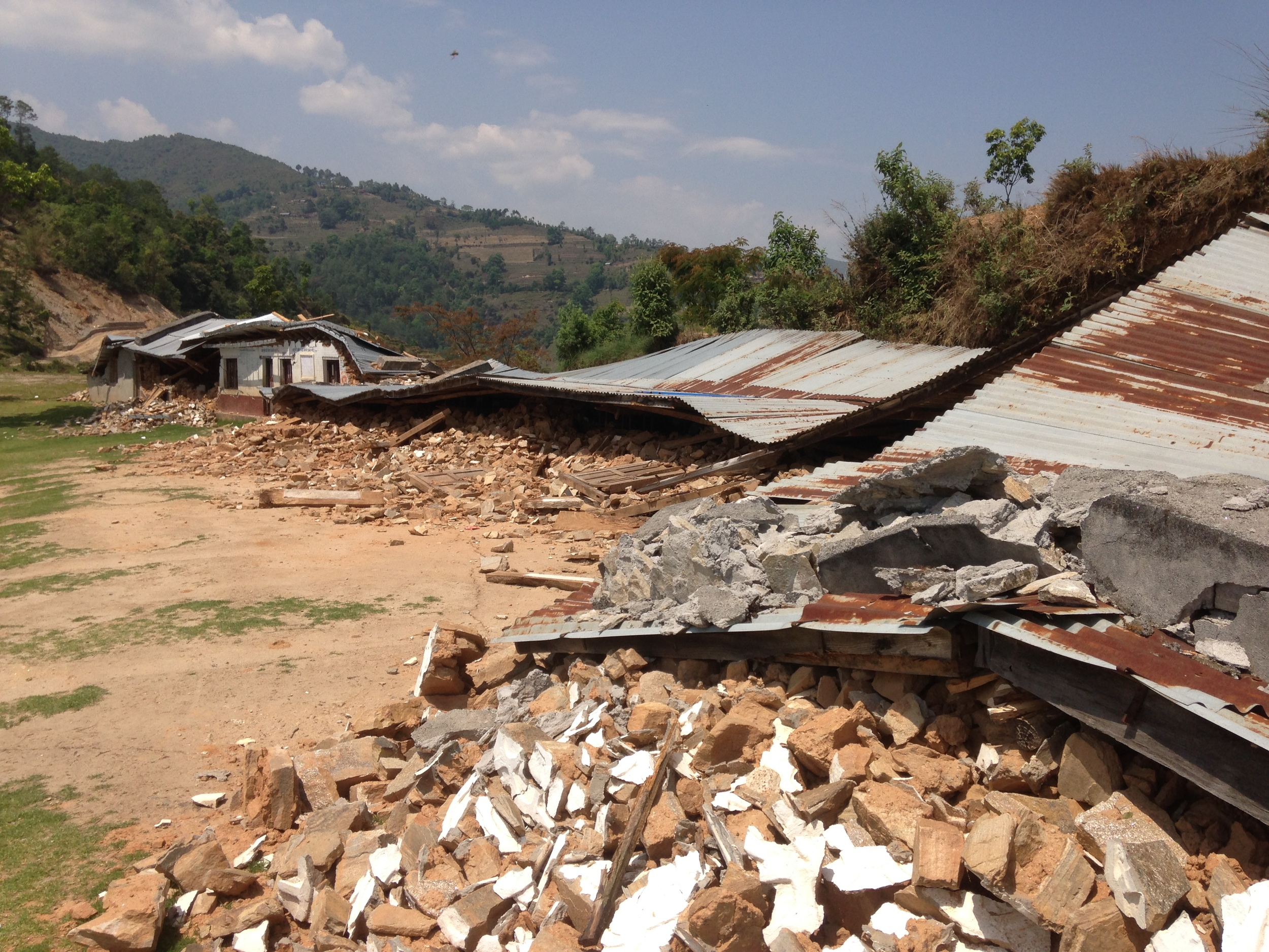 A school that was completely leveled in Batase, Sindhupalchowk.