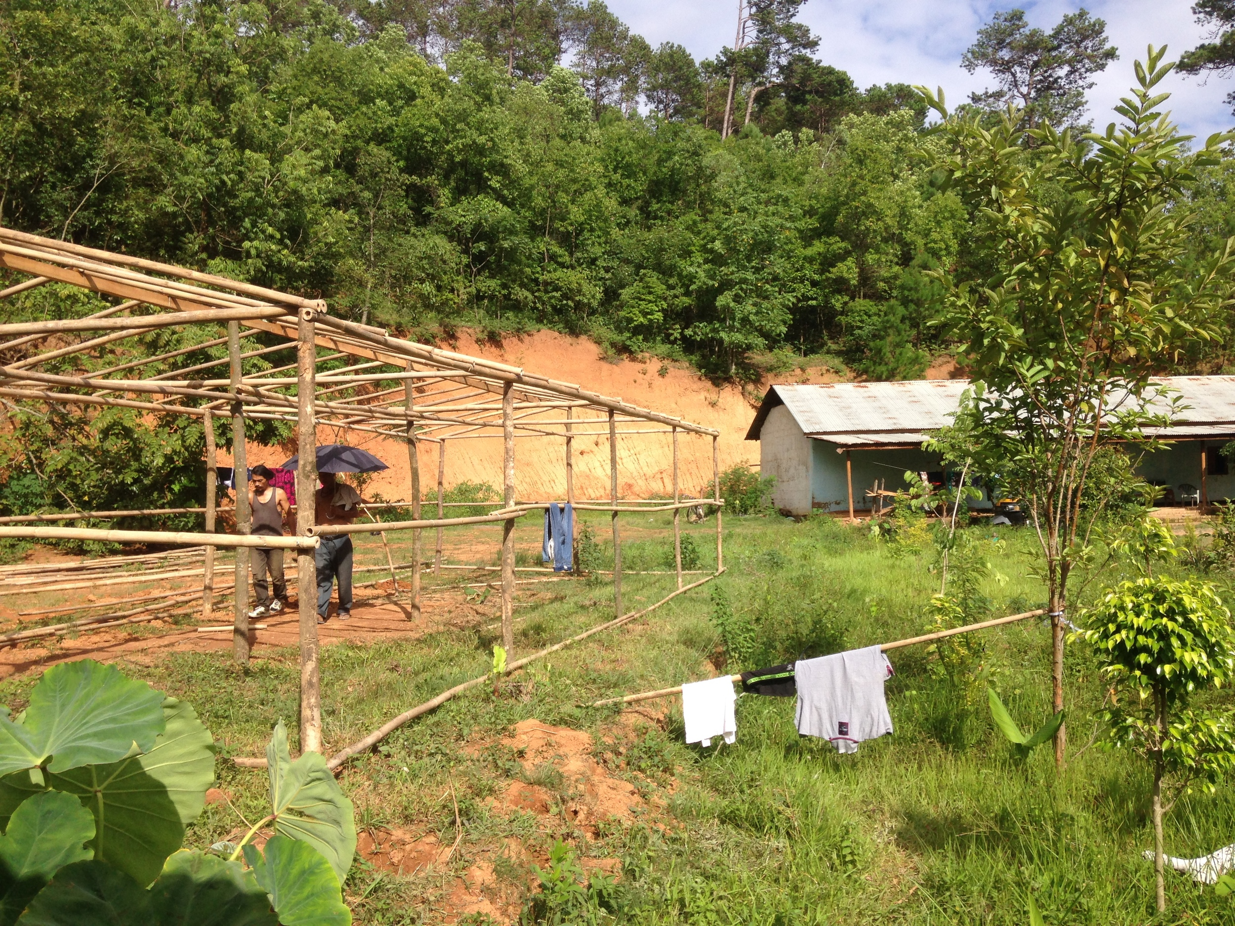 Constructing the greenhouse.