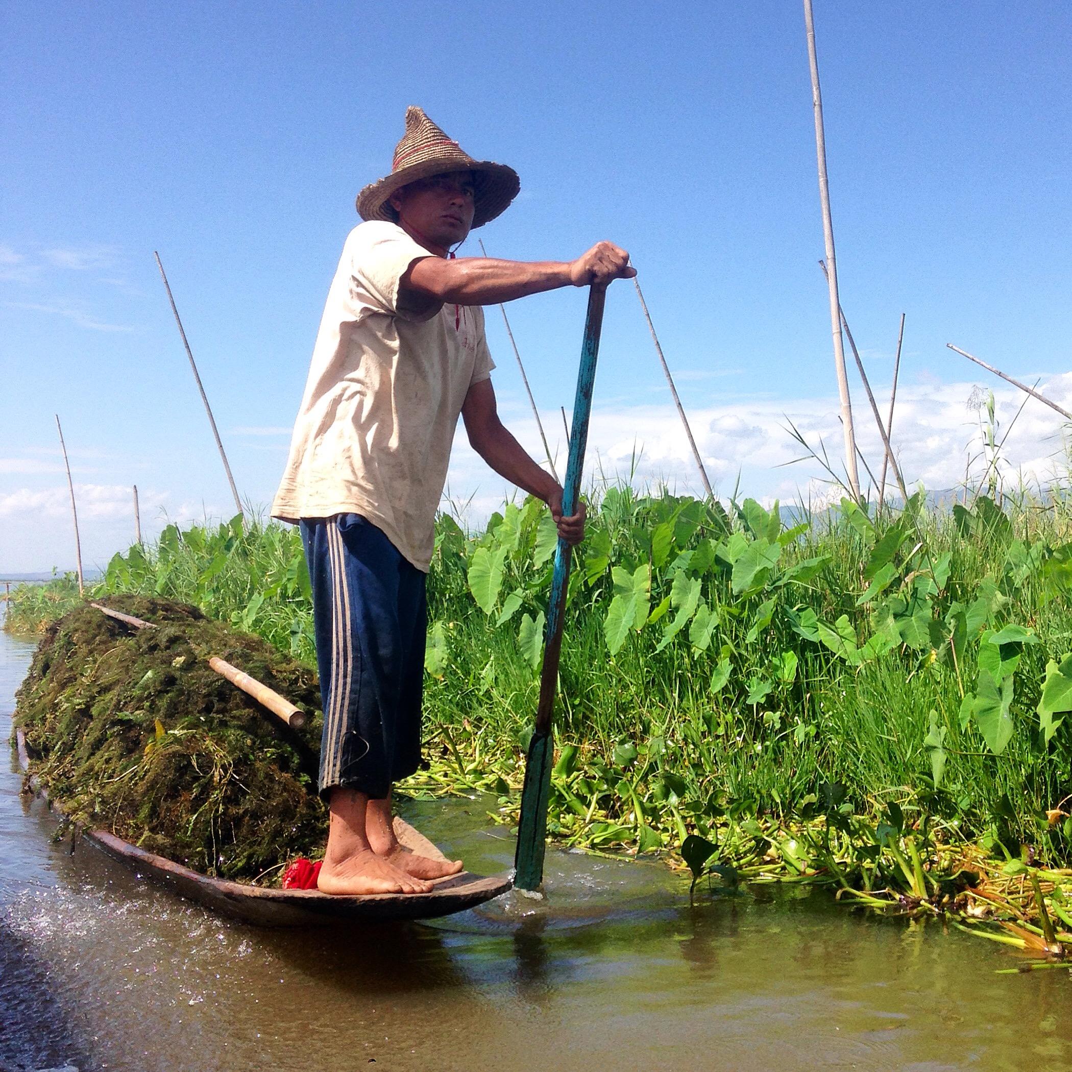 A farmer at Inle Lake.