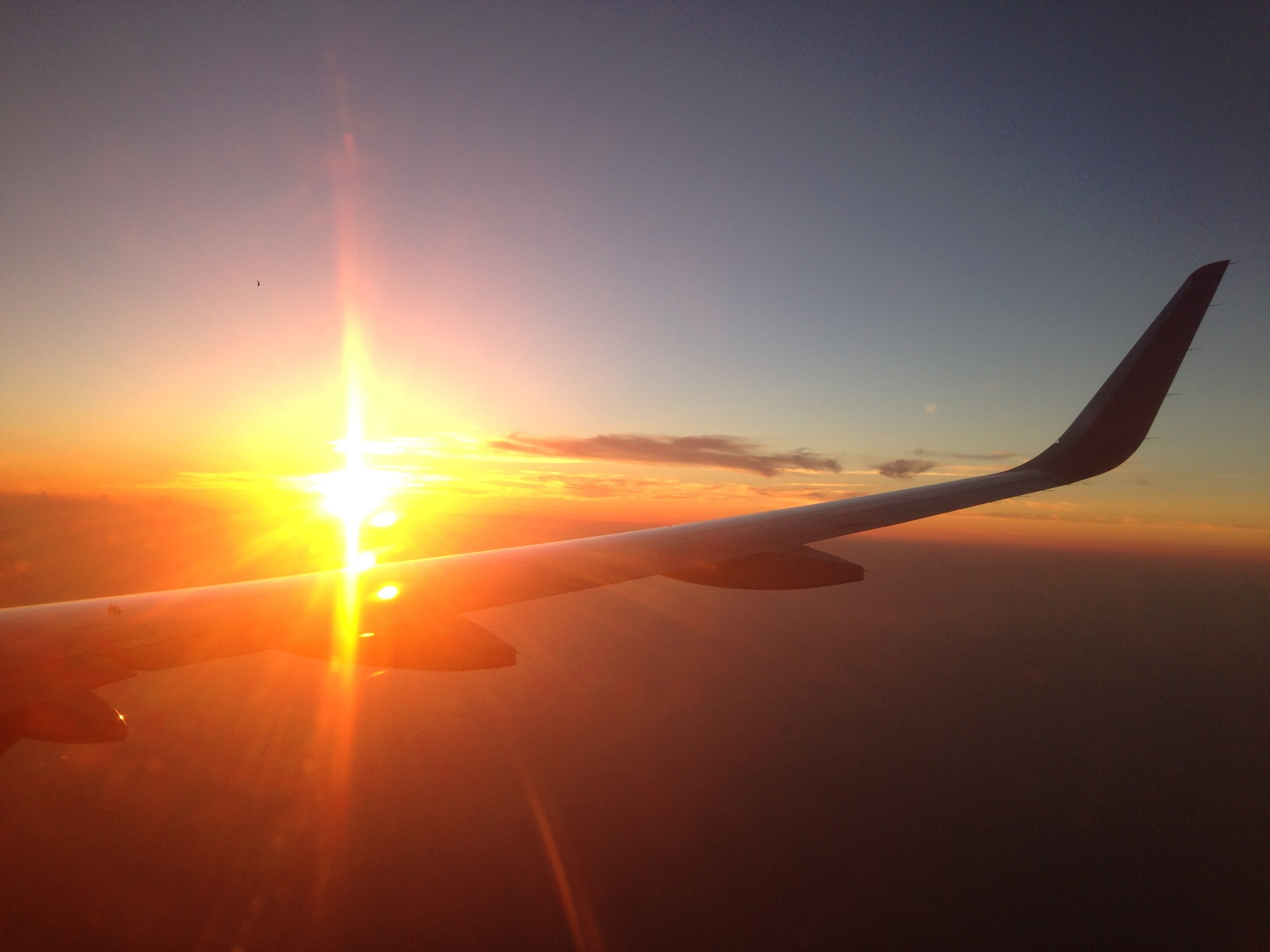 Sunset flying into Vietnam from Hong Kong