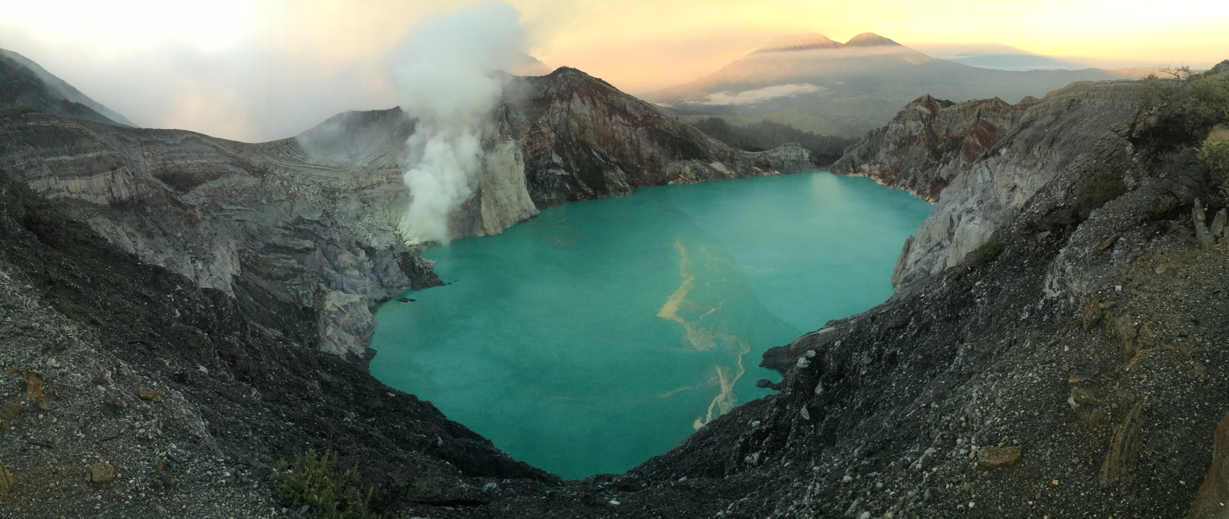 You can notice the sulfur mine from the smoke on the left side of the lake