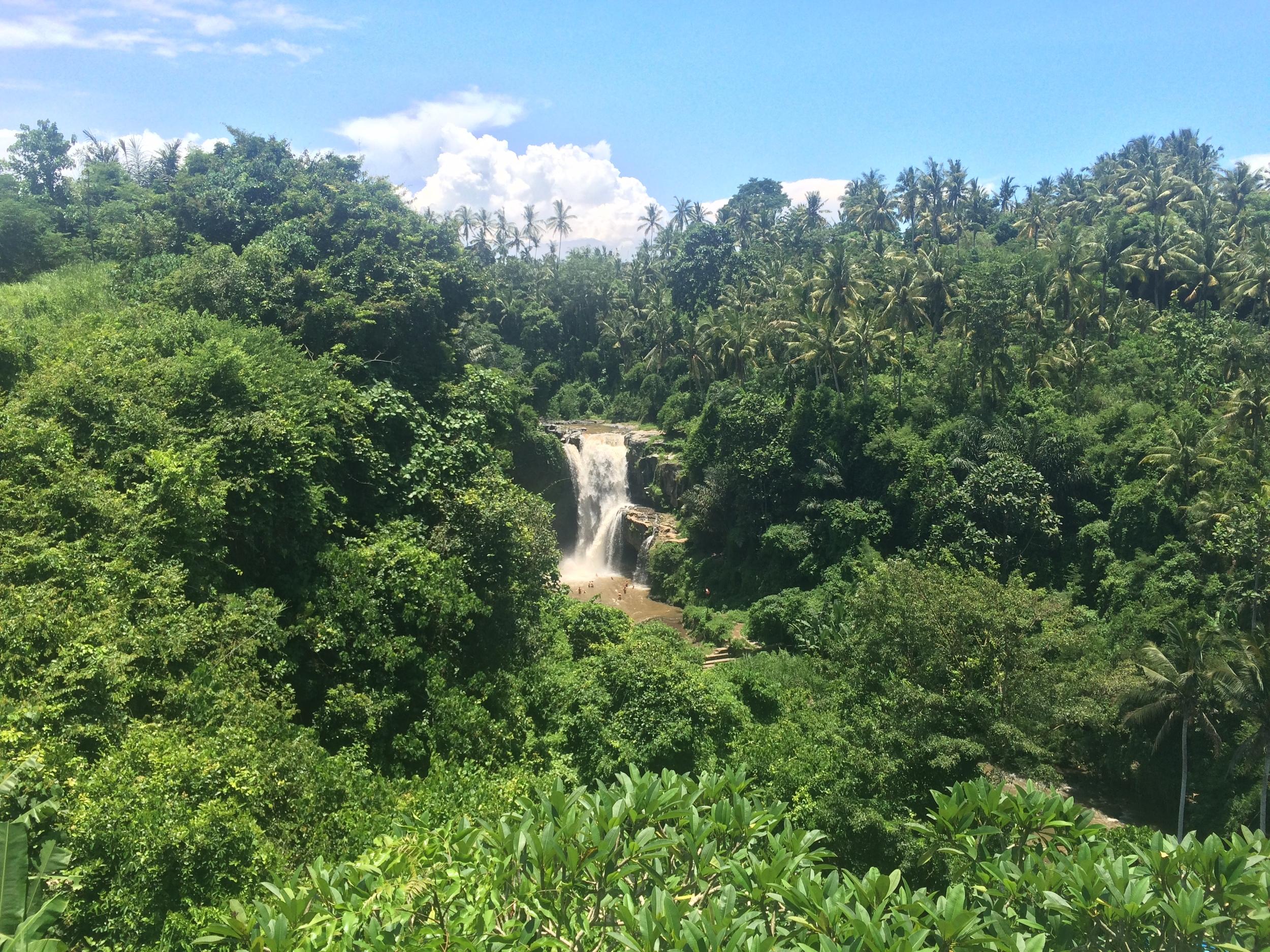 Looking down on the popular Tegenungan waterfall