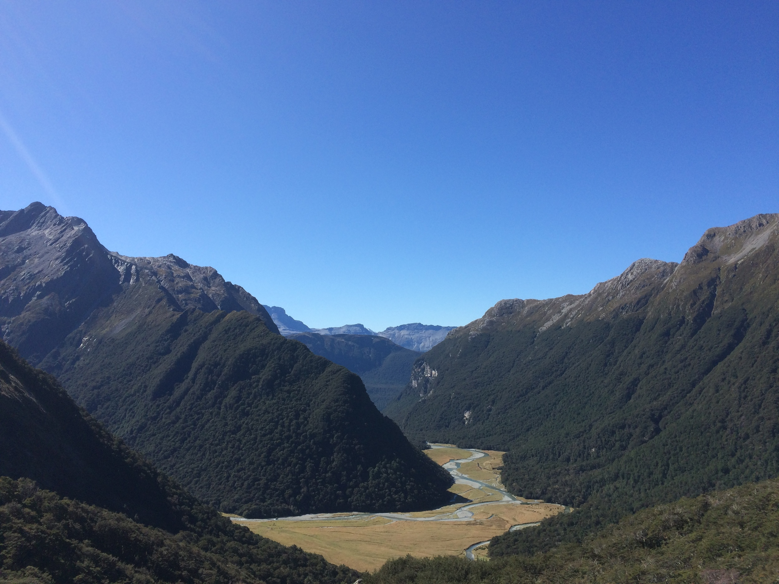 Looking down on the prairie land of the Routeburn